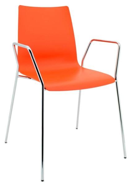 Besucherstuhl Unicus mit Armlehnen - orange - Brune