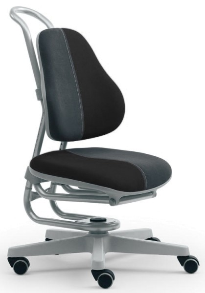 Kinderdrehstuhl BUGGY - Micro Schwarz/Grau, Gestell Silber - Rovo Chair