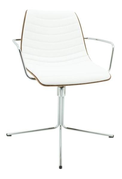 SID - Design-Besprechungsdrehsessel - Leder weiß/Edelfurnier Nußbaum - Brune