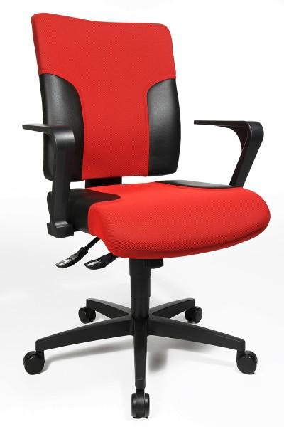 Drehstuhl Two 10 - rot/schwarz, mit Armlehnen - Topstar