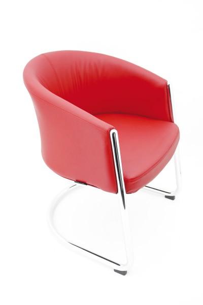 Signatop - Freischwinger - Luna - Sitz und Rücken rot gepolstert - Lederoptik