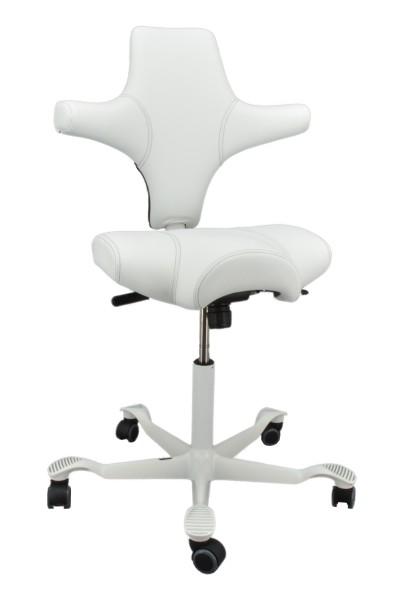 Drehstuhl Capisco 8106 - Paloma Leder weiß, Ziernaht schwarz - HAG