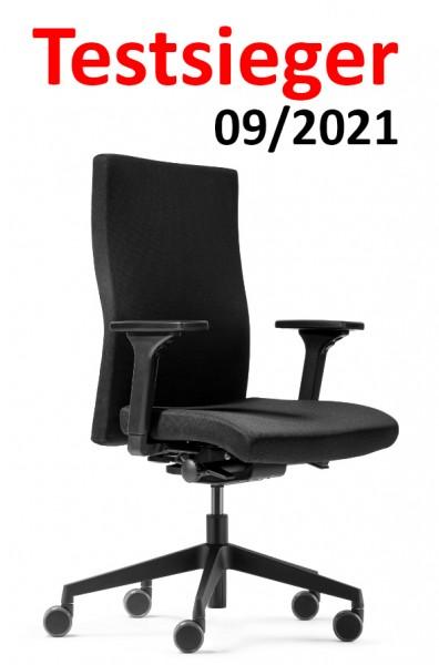 Testsieger 09/2021 - Dauphin - Bürostuhl 9248 mit hoher Rückenlehne - integrierter Lumbalstütze