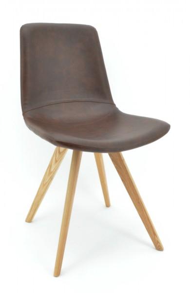 Stuhl Cassy - Kunstleder braun, Füße Holz