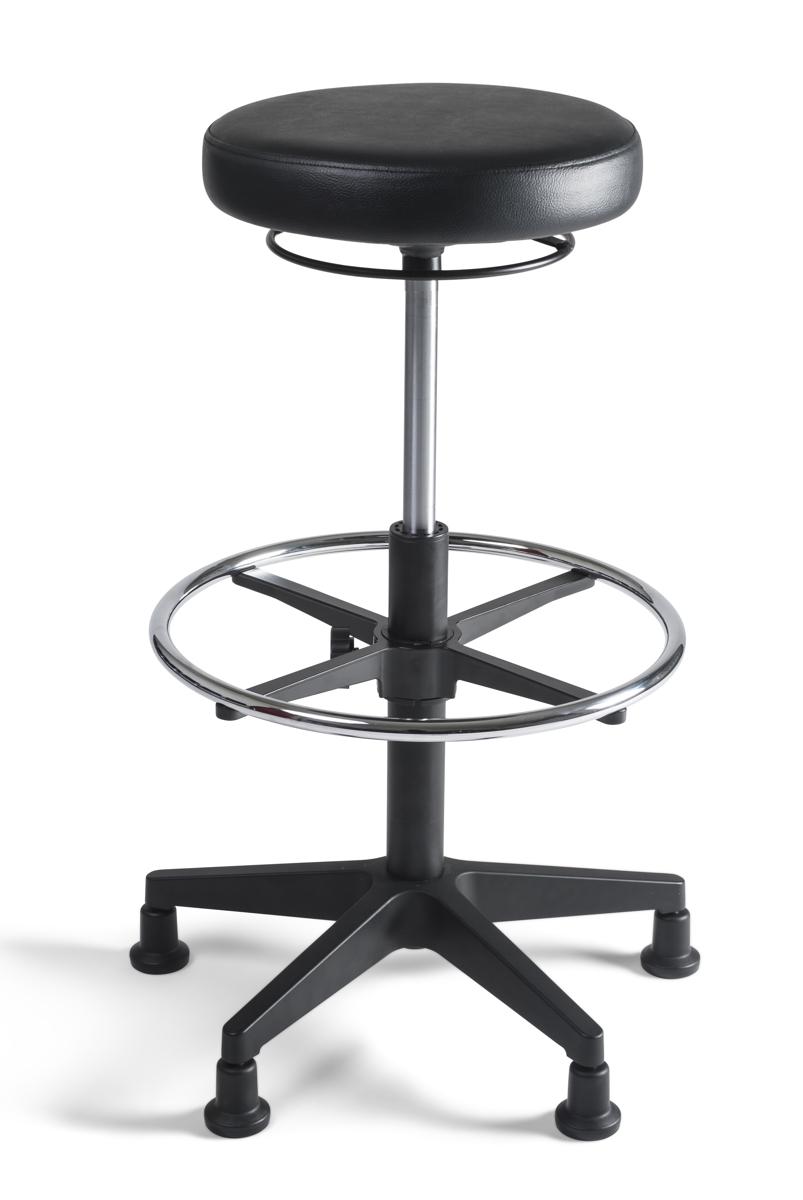 hocker 335 hoch kustleder polster schwarz drehstuhl. Black Bedroom Furniture Sets. Home Design Ideas