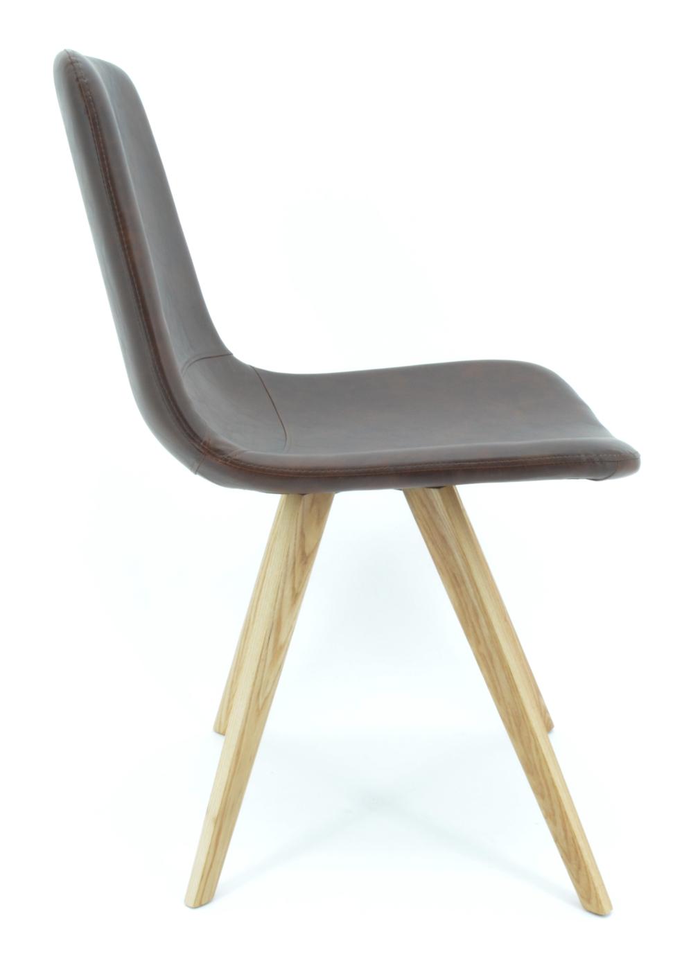 Stuhl Cassy Kunstleder braun Füße Holz