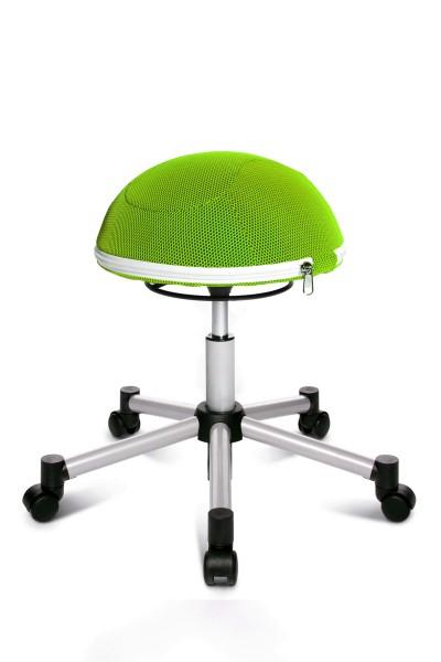 Drehhocker Sitness Half Ball - silber / apfelgrün - von Topstar
