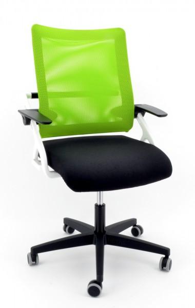 Drehstuhl Sitness 3D Star, white Edition - schwarz/grün - Topstar