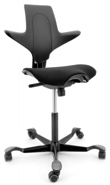 Drehstuhl Capisco Puls 8020 - schwarz / schwarz, inkl. Sitzflächenmatte - HAG