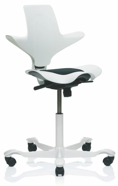Drehstuhl Capisco Puls 8010 - weiß / schwarz, Aluminium Fußkreuz weiß - HAG